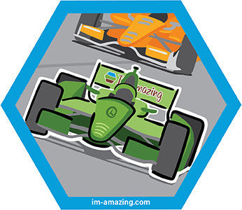 Green Formula 1 or IndyCar racing on a track or road course