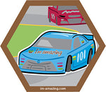Blue stock car racing on NASCAR track