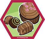 three chocolates and a frosted cupcake on hexagon magnet, I'm amazing magnetic personality