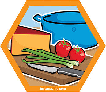 Food and knife on cutting board with pot behind on hexagon magnet, I'm amazing magnetic personality
