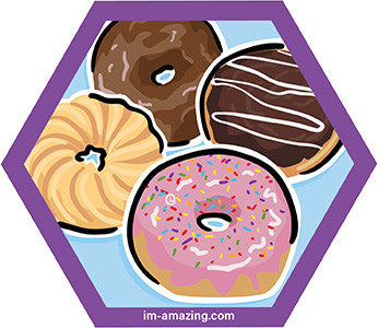 four frosted donuts on hexagon magnet, I'm amazing magnetic personality