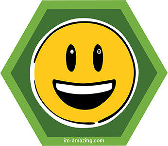 smiley face emoji on hexagon magnet