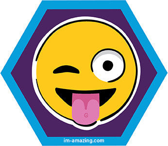 Wacky, winking, tongue out emoji face on hexagon magnet, I'm amazing magnetic personality