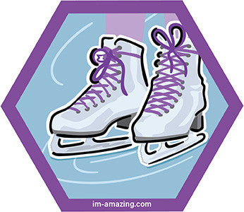 two figure skates on ice on hexagon magnet, I'm amazing magnetic personality