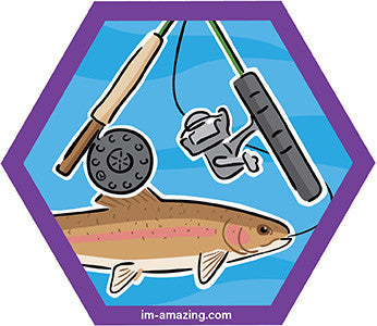 rainbow trout with flyfishing and spin reel on hexagon magnet, I'm amazing magnetic personality