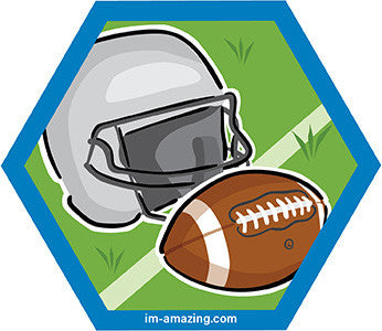 football and helmet on hexagon magnet, I'm amazing magnetic personality