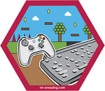 computer keyboard and video game controller with Mario=type game on hexagon magnet, I'm amazing magnetic personality