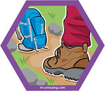 hiking boots and backpack on trail on hexagon magnet, I'm amazing magnetic personality