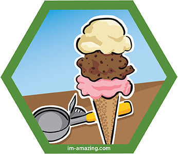 vanilla, chocolate and strawberry ice cream cone with scoop on hexagon magnet