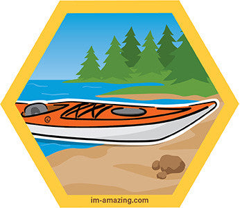 kayak on beach on hexagon magnet, I'm amazing magnetic personality