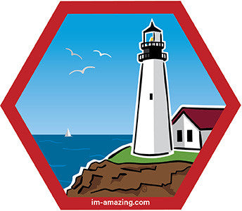 lighthouse on rocky coast of ocean kayak on beach on hexagon magnet