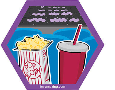 box of popcorn and soda pop drink in movie theater playing Star Wars on hexagon magnet