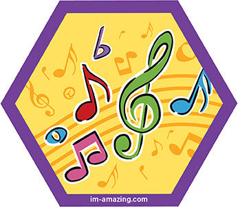music notes on hexagon magnet