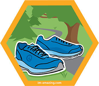 blue running shoes in park on hexagon magnet