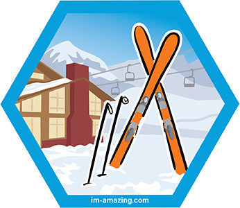 alpine skis and poles in snow by lodge on hexagon magnet