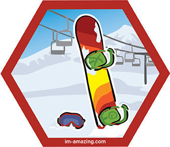 colorful snowboard and goggles in swow with ski lift on hexagon magnet