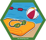 swim goggles, towel, beach ball by pool on hexagon magnet