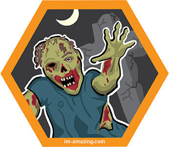 zombie in graveyard on hexagon magnet