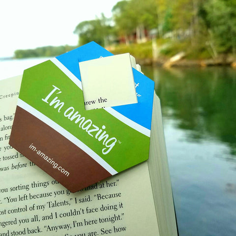 I'm amazing hexagonal bookmark with inspirational quotes.