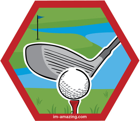 golf ball, tee and driving club on hexagon magnet, I'm amazing magnetic personality