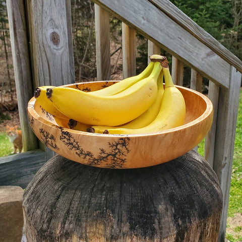 "9.5"" large curly maple serving or salad bowl"