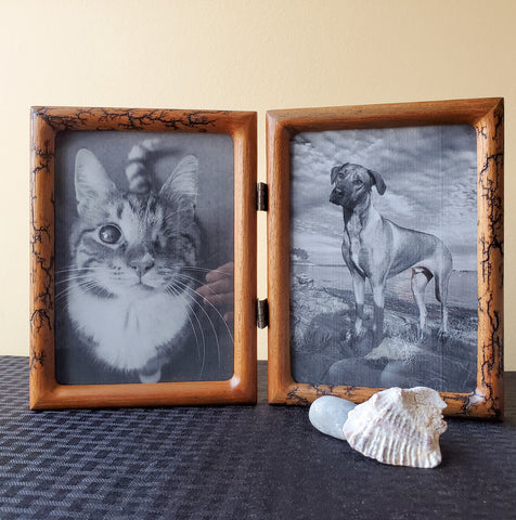"Double 5""x7"" wood photo frame"