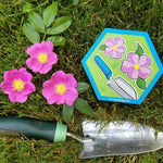 pink wild rose flowers with trowel and hexagon magnet