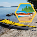 kayak on beach on hexagon magnet