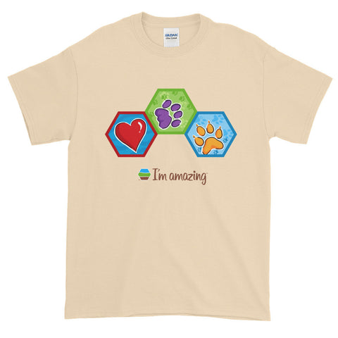 Red heart, cat paw print and dog print hexagons on beige tshirt