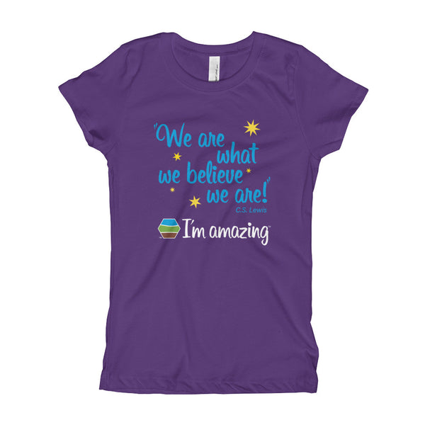 """We are what we believe we are!"" CS Lewis quote and I'm amazing logo on purple girl's tshirt"