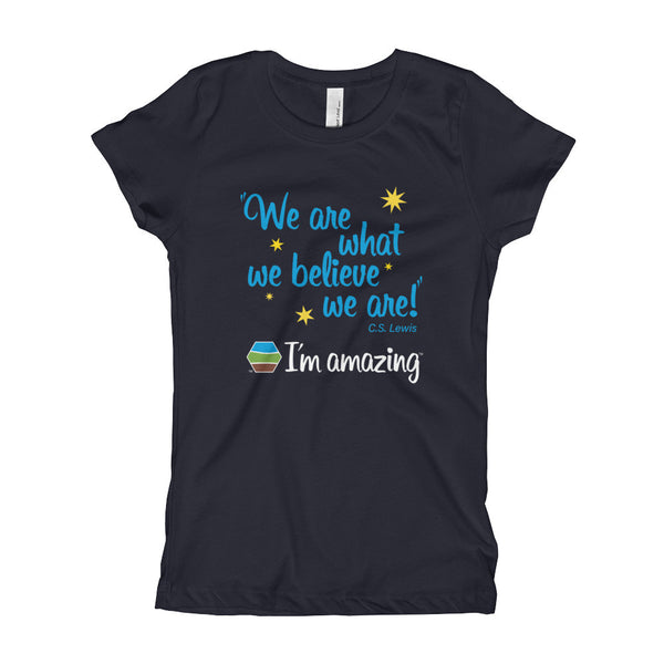 """We are what we believe we are!"" CS Lewis quote and I'm amazing logo on navy blue girl's tshirt"