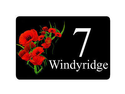 personalised aluminium metal poppy red 2 signs door plaque house