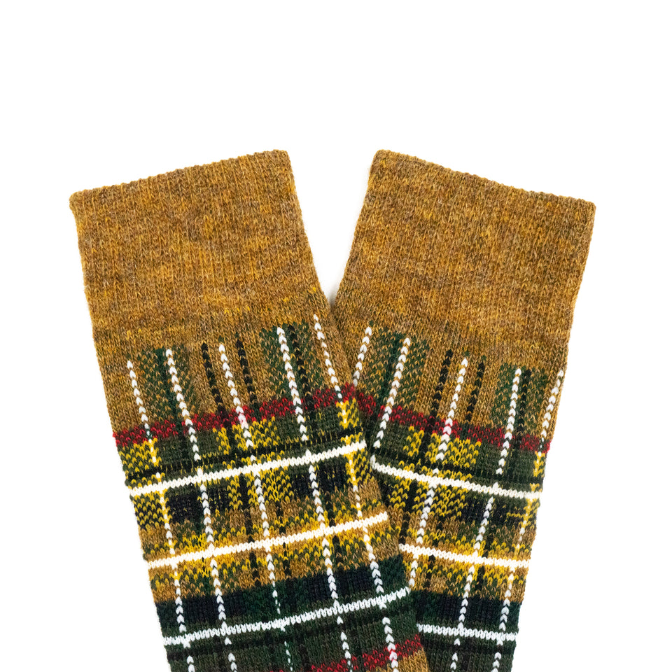 WOOL TARTAN CREW SOCKS - GOLD