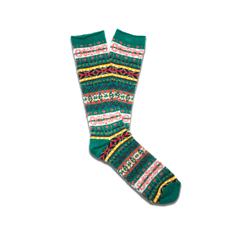 FAIRISLE CREW SOCKS - GREEN