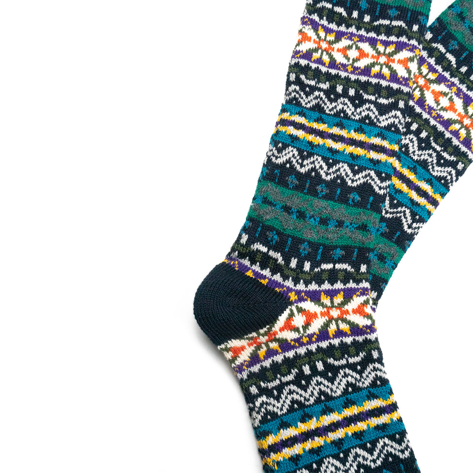 FAIRISLE CREW SOCKS - NAVY
