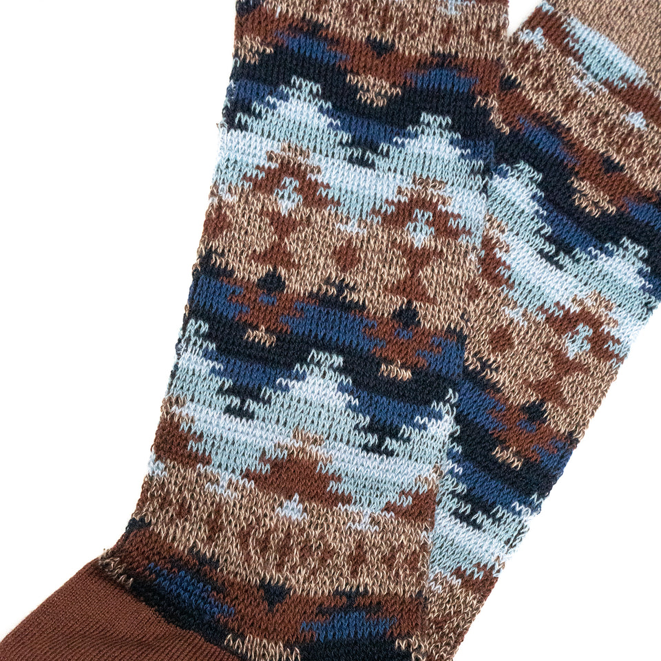 WIGWAM JACQUARD CREW SOCKS - BROWN