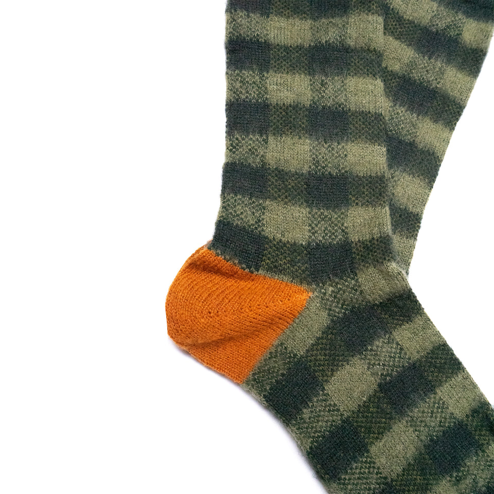 BUFFALO CHECK CREW SOCKS - OLIVE