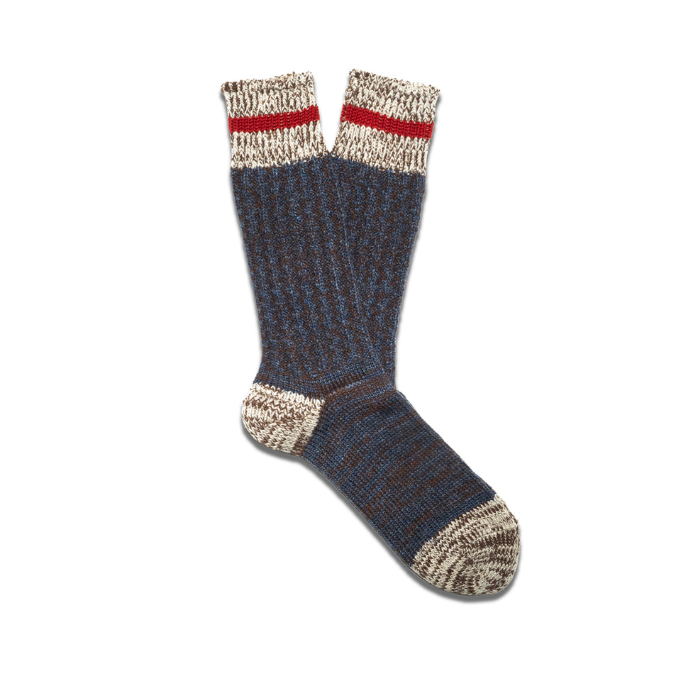 COTTON x WOOL STRIPE CREW SOCKS - NAVY