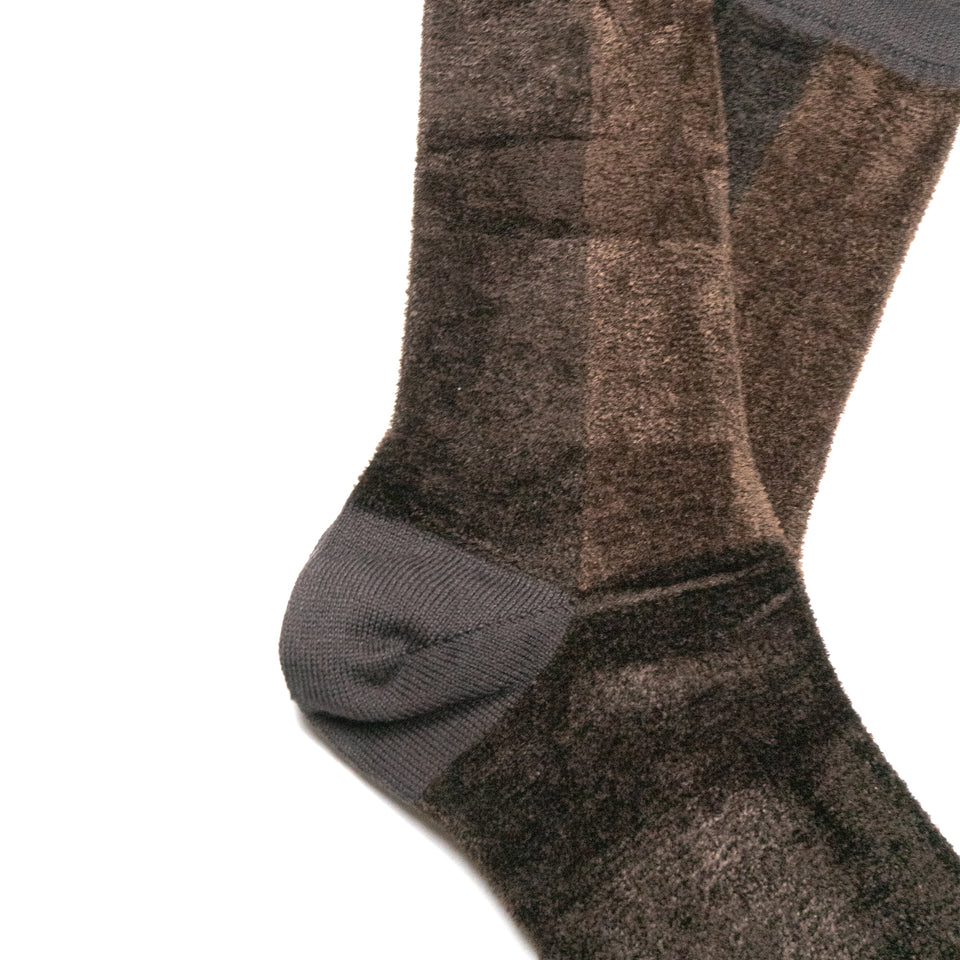 VELOUR PATCHWORK CREW SOCKS - BROWN