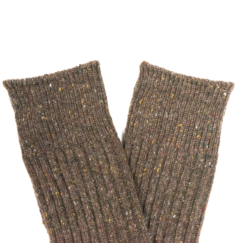 COTTON NEP YARN CREW SOCKS - BROWN