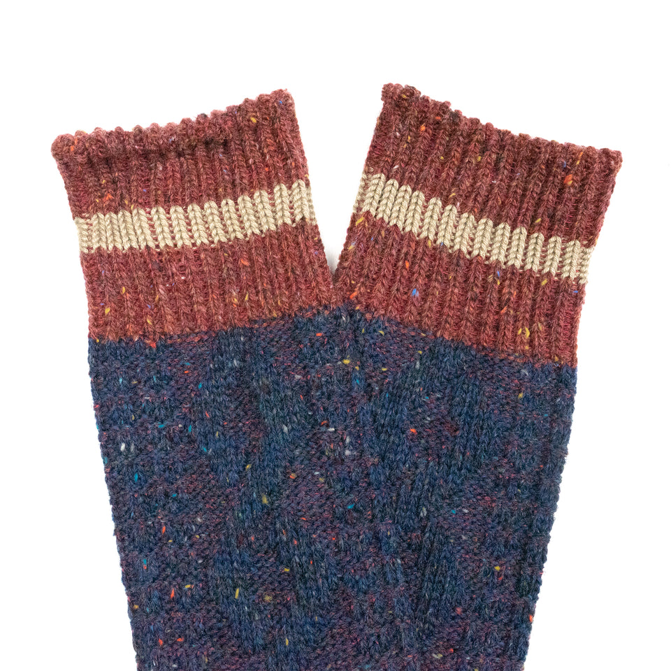 HEMP CABLE STRIPE CREW SOCKS - NAVY