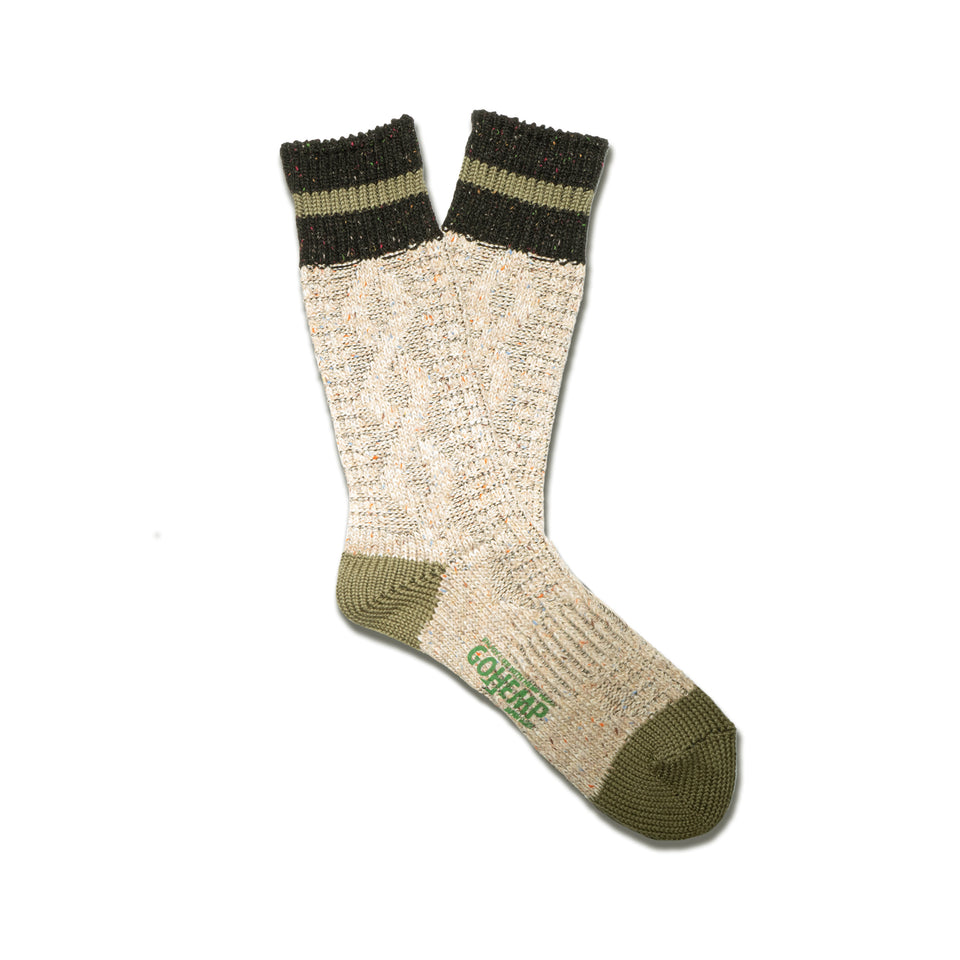 HEMP CABLE STRIPE CREW SOCKS - BEIGE