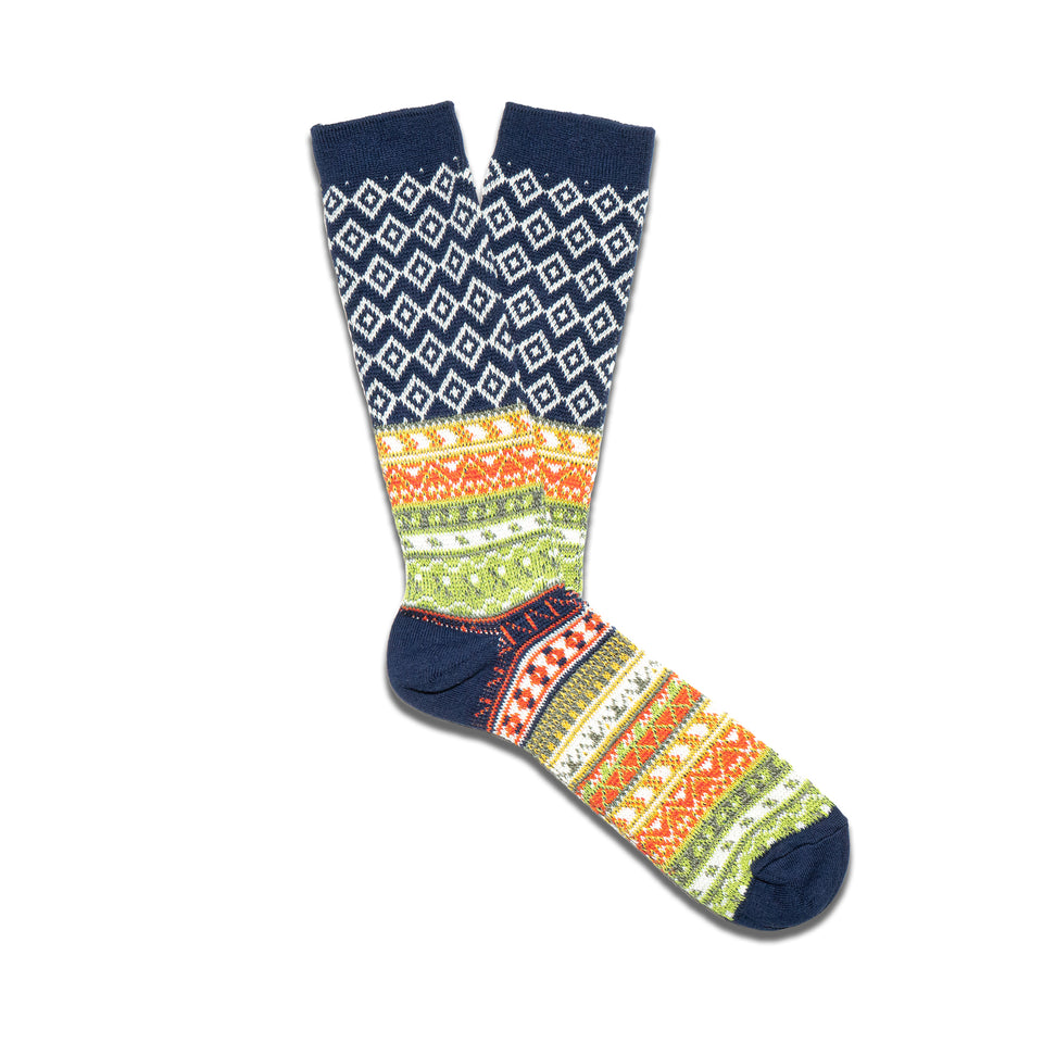 FAIRISLE JACQUARD CREW SOCKS - NAVY