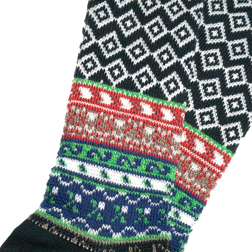 FAIRISLE JACQUARD CREW SOCKS - BLACK