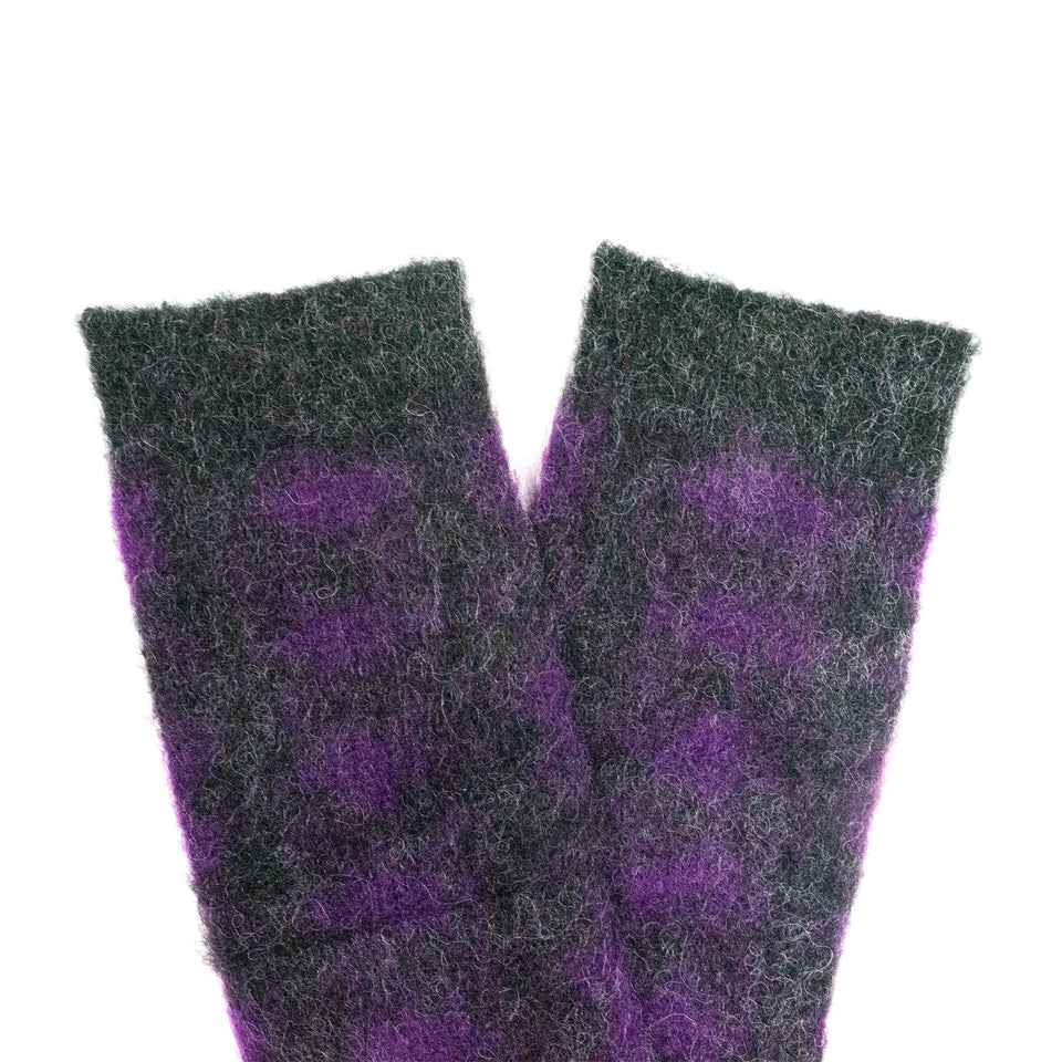BRUSHED DIAMOND JACQUARD CREW - CHARCOAL/PURPLE