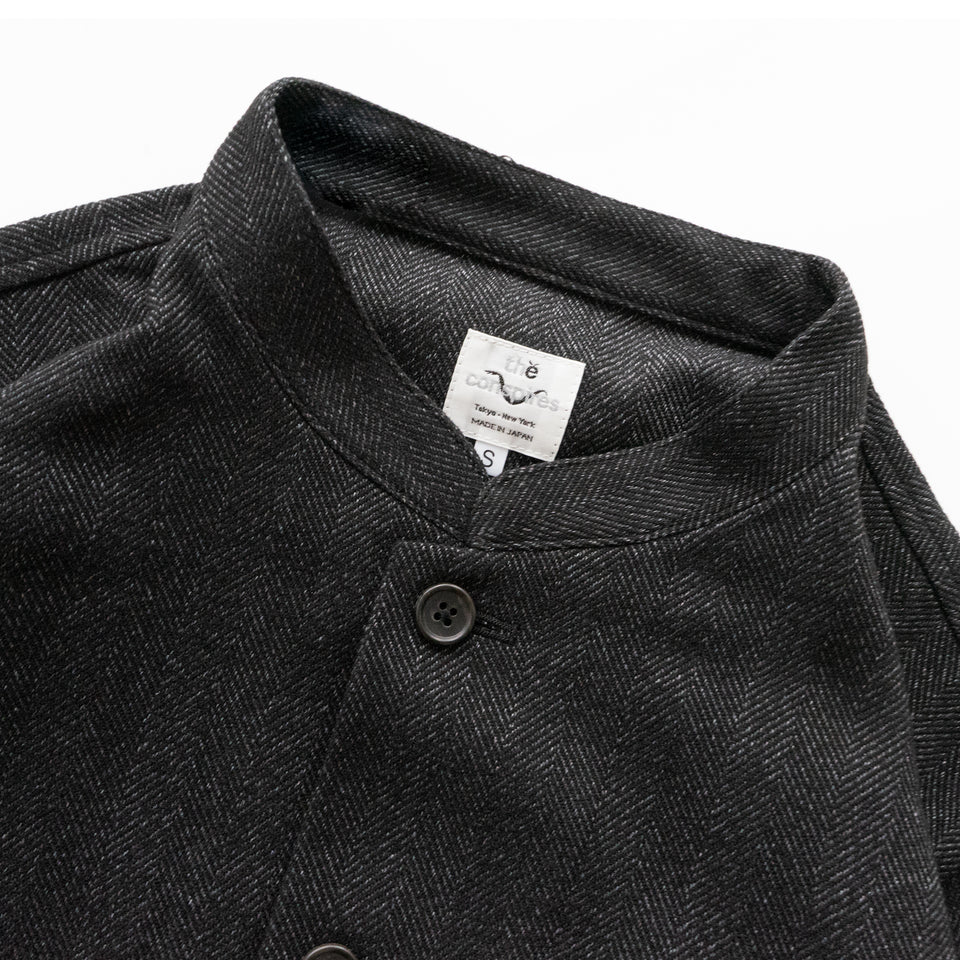 TWEED HERRINGBONE STANDCOLLAR JACKET - CHARCOAL/WHITE