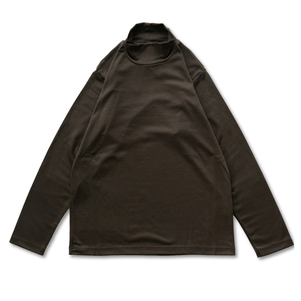 TURTLE NECK L/S TEE - BROWN