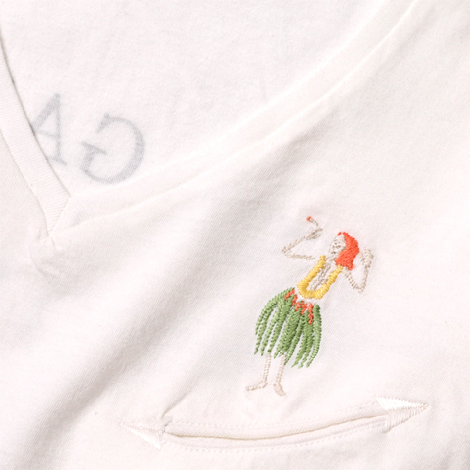 COTTON HULA SKULL CRESCENT PKT V-NECK TEE - WHITE