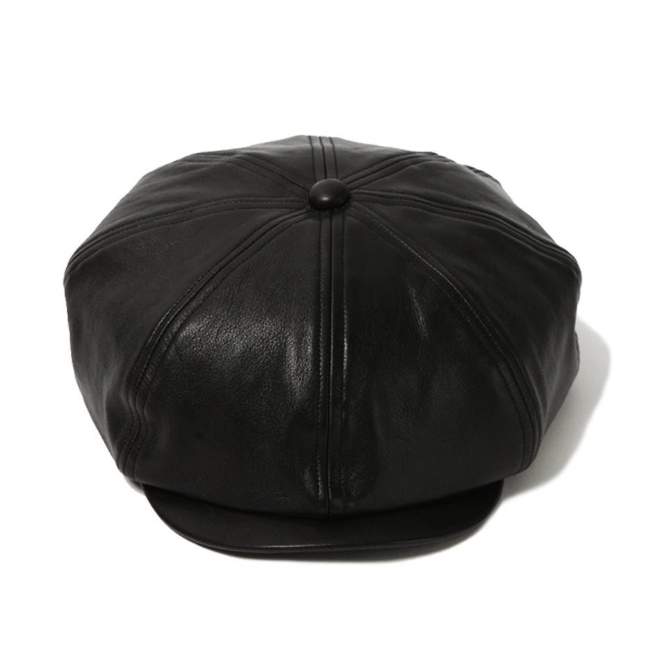 STEERHIDE LEATHER CASQUETTE - BLACK