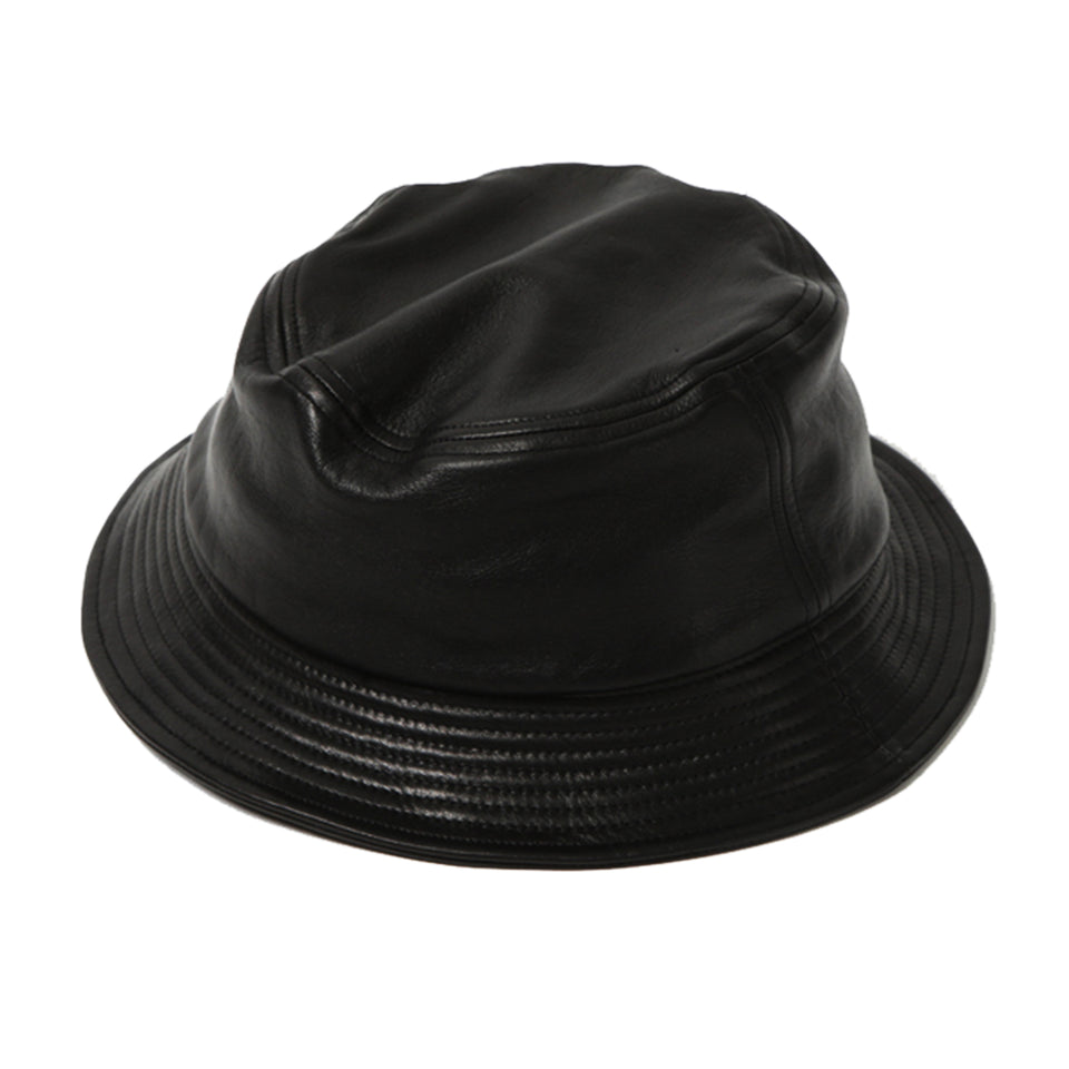 STEERHIDE LEATHER BUCKET HAT - BLACK